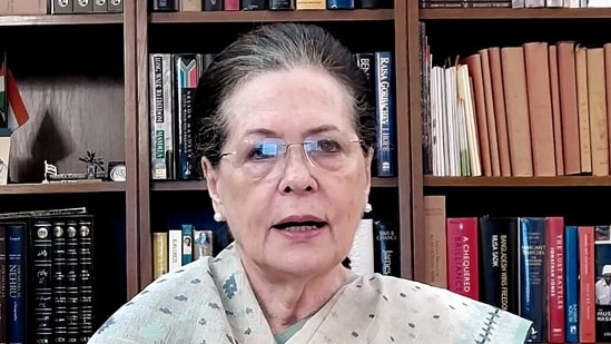 Congress President Sonia Gandhi speaks on Bangladesh event via video conference, in New Delhi on Friday. (ANI Photo)