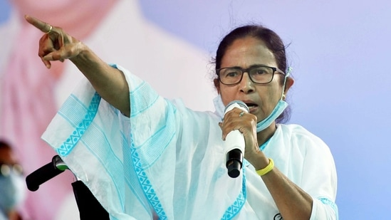 West Bengal Chief Minister Mamata Banerjee addresses an election rally, in Noapara on Friday. (ANI Photo)