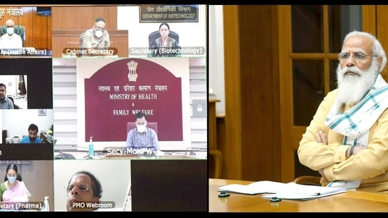 Prime Minister Narendra Modi chairing a review meeting on the Covid-19 situation through video conferencing, in New Delhi on Saturday.(ANI Photo )
