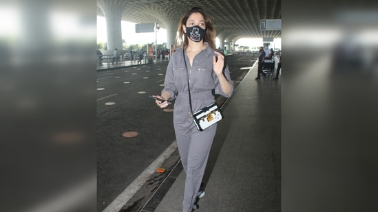 Tamannaah wore a grey jumspsuit that was adorned with silver front zip and pocket zips at the torso, giving it a rugged vibe.(Varinder Chawla)