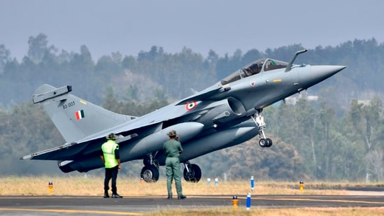 Indian Air Force's Rafale fighter jet lands during the first day of the Aero India 2021 Airshow at the Yelahanka Air Force Station in Bangalore on February 3, 2021.(AFP)