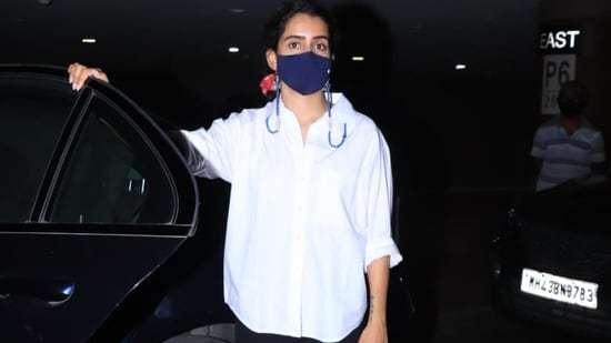 Sanya Malhotra at the Mumbai airport.