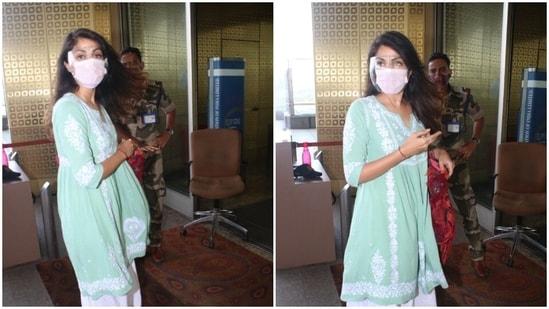 Rhea Chakraborty seen outside the Mumbai airport.(Varinder Chawla)