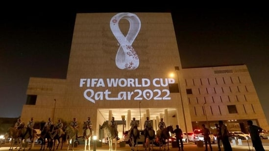 The tournament's official logo for the 2022 Qatar World Cup is seen on a building at Souq Waqif in Doha, Qatar(REUTERS)