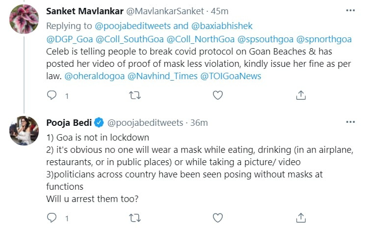 A screengrab of Pooja Bedi's tweet.