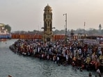 A large number of devotees gather to take a holy dip in the Ganga during Kumbh Mela in Haridwar, (Reuters Photo)