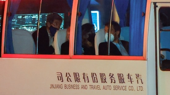 A vehicle with US special presidential envoy for climate John Kerry on board arrives to a state guest hotel during his visit, in Shanghai. (REUTERS)