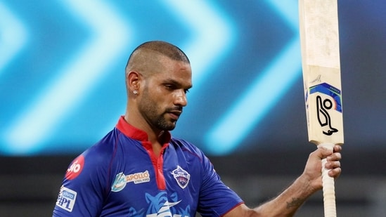 Shikhar Dhawan departs during the match between the Delhi Capitals and the Punjab Kings held at the Wankhede Stadium in Mumbai on Sunday. (ANI Photo/IPL Twitter)