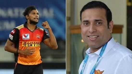 SRH bowler T Natarajan (L), VVS Laxman (R)(HT Collage)