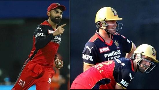 Virat Kohli (left), and AB de Villiers and Glenn Maxwell (right)(IPL)