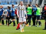 Juventus' Dejan Kulusevski leaves at the end of a Serie a soccer match between Atalanta and Juventus(AP)