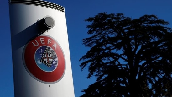 FILE PHOTO: A logo is pictured outside the UEFA in Nyon, Switzerland(REUTERS)