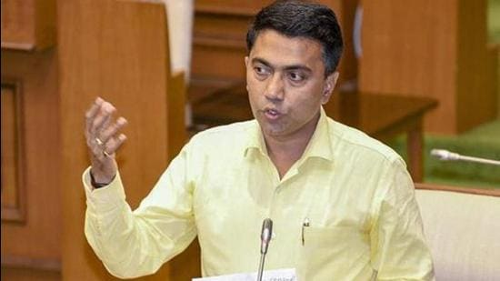 Panaji: Goa Chief Minister Pramod Sawant delivers a speech during a confidence motion held at a special session in Goa State Legislative Assembly, in Panaji, Wednesday, March 20, 2019. Twenty MLAs voted for the motion of confidence in the two-day-old government, while 15 opposed it. (PTI Photo)(PTI3_20_2019_000057B) (PTI)