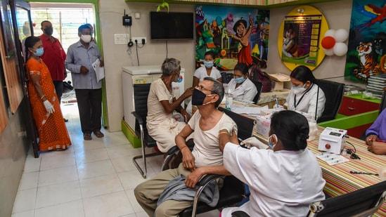 A beneficiary receiving second dose of Covid-19 vaccine.(PTI file photo)