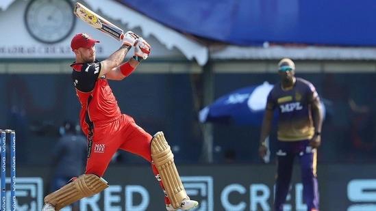 RCB's Glenn Maxwell plays a shot during IPL 2021 match number 10, against KKR(PTI)