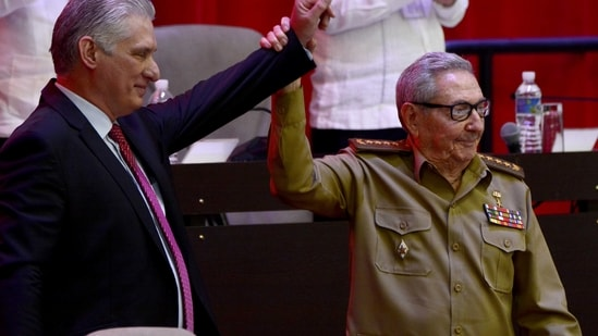Raul Castro (right) with Miguel Diaz-Canel, the newly appointed Communist Party chief, at the Convention Palace in Havana.(REUTERS)