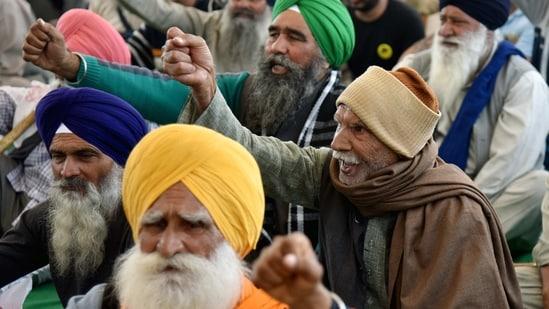 Farmers at a demonstration site in Singhu Border, New Delhi.(ANI)