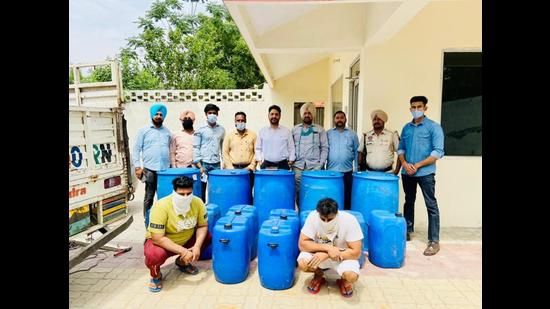 Police with the accused and the recovered material in Amritsar on Tuesday.