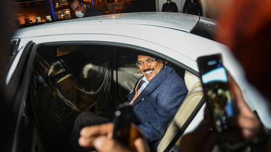 National Security Advisor (NSA) Ajit Doval leaves from Parliament during the ongoing Budget Session, in New Delhi. (PTI Photo)