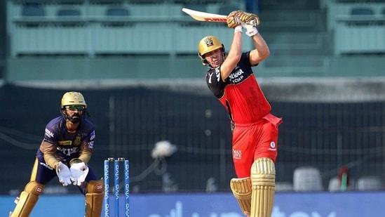 AB de Villiers of Royal Challengers Bangalore plays a shot. FIle(PTI)
