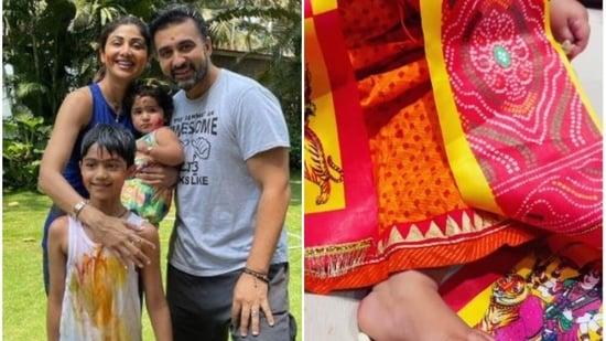 Shilpa Shetty dressed up her daughter for Maha Gauri puja.