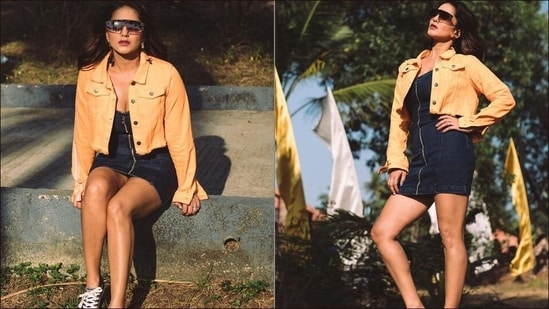 Sunny Leone amps hotness quotient in denim zipper mini, neon-orange crop jacket(Instagram/sunnyleone)