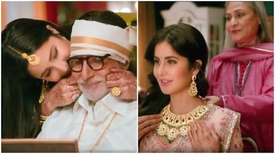 Katrina Kaif in an ad with Amitabh Bachchan and Jaya.