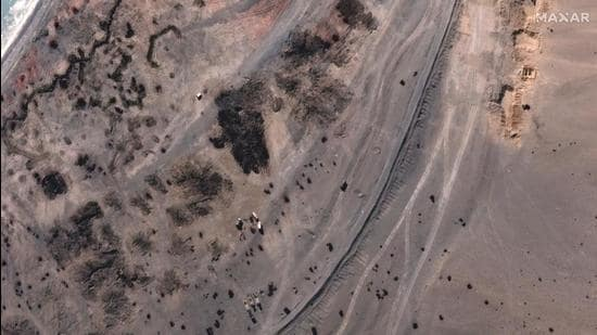 A satellite image provided on February 17, 2021, by Maxar Technologies shows the close-up of an area at Pangong Tso, with troops deployment removed on February 16 along the disputed India-China border in Ladakh region. (AP/File)