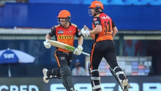 David Warner Captain of Sunrisers Hyderabad and Jonny Bairstow of Sunrisers Hyderabad.(PTI)