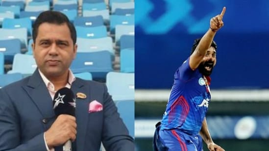 File Photo of Aakash Chopra (left), and DC bowler Amit Mishra (right)(HT Photo)