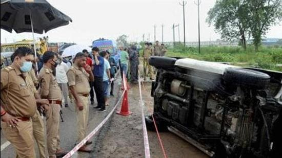 Kanpur: Police inspect the encounter site where gangster Vikas Dubey was killed when he allegedly tried to escape from the spot following an accident, near Kanpur. (PTI)