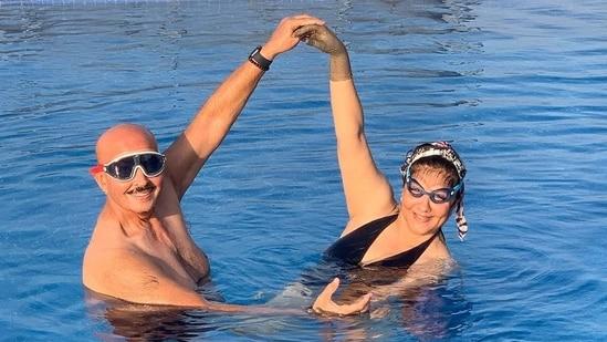 Rakesh Roshan and Pinkie Roshan in the pool.