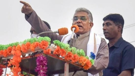 """""""BJP Bengal unit and the voters of West Bengal were looking forward to his visit but we realise the gravity of the situation and the rationale for him not being able to make it in person,"""" Bengal BJP chief Dilip Ghosh said.(PTI )"""