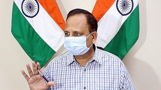 Delhi Health Minister, Satyendar Jain, addresses a press conference, in New Delhi on Tuesday. (ANI Photo)