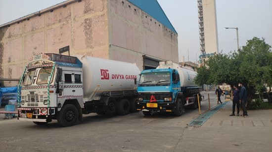 Trucks laden with liquid oxygen coming out of Panipat refinery on Thursday. (HT Photo)