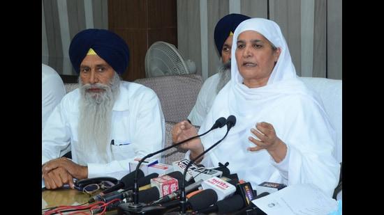 SGPC president Jagir Kaur addressing a press conference in Amritsar on Thursday. (Sameer Sehgal /HT)