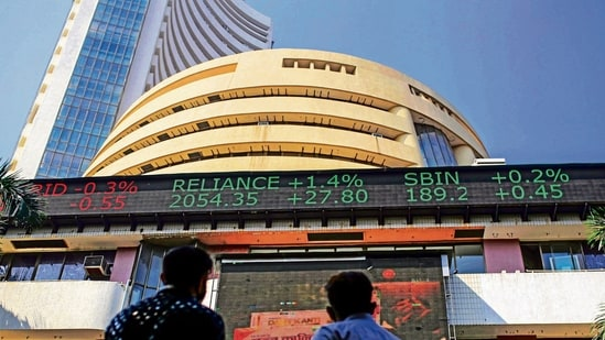 After falling 501 points in the opening session, the 30-share BSE index was trading 463.36 points or 0.97 per cent lower at 47,242.44.(Bloomberg File Photo )
