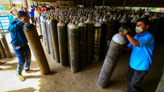 Meanwhile, prices of oxygen cylinders in many parts of the country have more than doubled.(PTI)
