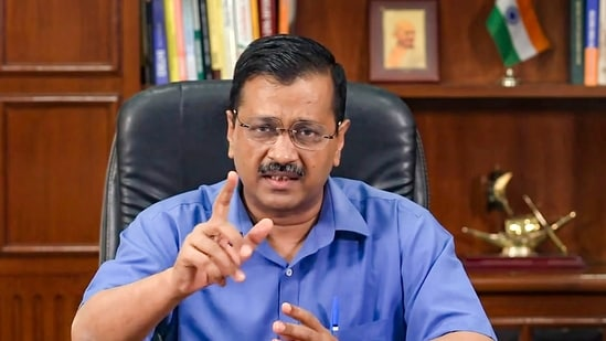 Delhi chief minister Arvind Kejriwal addresses a press conference in New Delhi. He has pointed out that the increased quota for medical oxygen fixed by the central government a day ago is still not enough to meet the spiralling demands amid a more infectious second wave of the coronavirus disease (Covid-19). (File Photo / PTI)