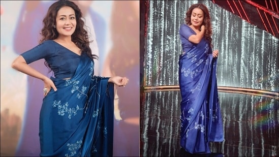 Neha Kakkar leaves Rohanpreet Singh smitten as she slays in blue silk satin sari(Instagram/nehakakkar)