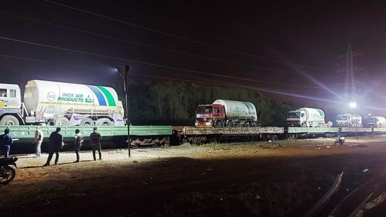 Roll On Roll Off (RORO) Oxygen Express enroute to Maharashtra from Visakhapatnam in Andhra Pradesh on Thursday. (ANI Photo)