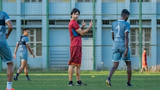 FC Foa coach Juan Ferrando during training session.