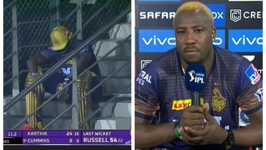 Andre Russell sat on the staircase after getting out against CSK in IPL 2021