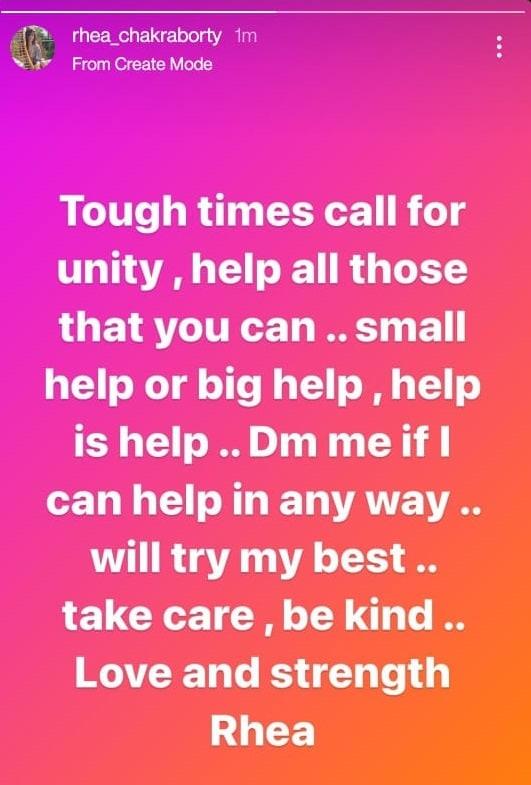 Rhea Chakraborty offered help on Instagram.