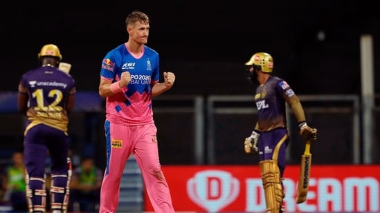 Chris Morris celebrates the wicket of Andre Russell during the match between the Rajasthan Royals and the Kolkata Knight Riders at the Wankhede Stadium, in Mumbai. (ANI Photo/IPL Twitter)