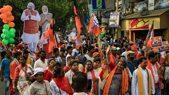 Before campaigning ended on Friday, Prime Minister Narendra Modi, Union home minister Amit Shah, BJP's star campaigner, actor Mithun Chakraborty, and others held more than a dozen rallies and roadshows in these constituencies. (AP PHOTO).