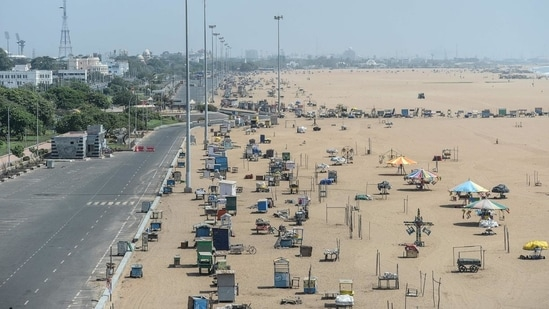 The government also noted that the existing night curfew and the Sunday curfew, imposed earlier on April 18, would continue to be in effect without any changes. In picture - Deserted view of the Marina beach in Chennai during the curfew.(AFP)