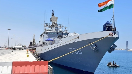 The Indian Navy's INS Tarkash will take part in the joint naval drill scheduled for Sunday. (TWITTER/@indiannavy)