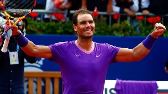 Rafael Nadal celebrates his victory over Pablo Carreno Busta of Spain.(AP)