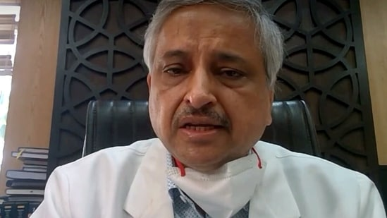 AIIMS Director Dr. Randeep Guleria speaks on the Covid-19 situation through video conferencing in New Delhi on Saturday. (ANI Photo)